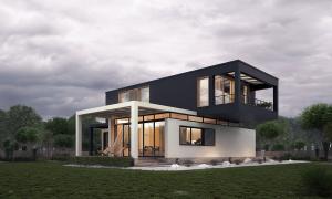 Rumah Minimalis Tampak Depan Berkonsep Jenga